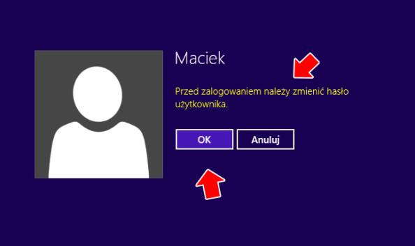 Prośba ozmianę hasła użytkownika.