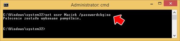 Zablokowanie możliwości zmiany hasła przezużytkownika.