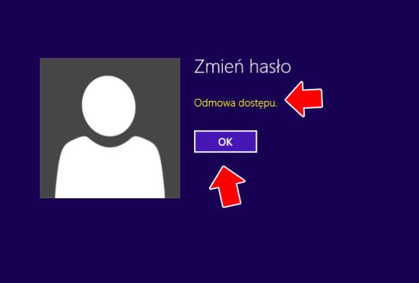 Odmowa dostępu przy próbie zmiany hasła dokonta użytkownika.