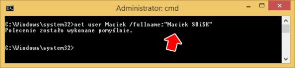 Przypisanie pełnej nazwy dokonta użytkownika.