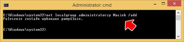 Przypisanie konta dolokalnej grupy administratorów systemu.