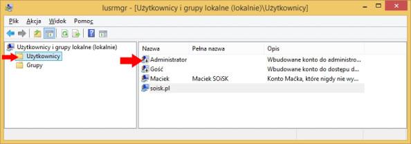 """Widok wyłączonego konta administratora przy użyciu przystawki """"Użytkownicy igrupy lokalne""""."""