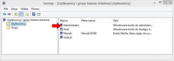 Podgląd aktywowanego konta administratora systemu.