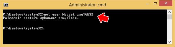 Ustawienie hasła dokonta zapomocą polecenia net user.