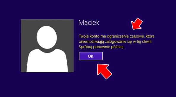 Restrykcje nałożone nakonto użytkownika.