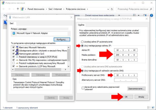 Dodawanie adresów ip dokarty sieciowej wWindows 10