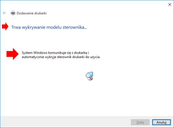 Instalacja sterowników dodrukarki wsystemie Windows 10.