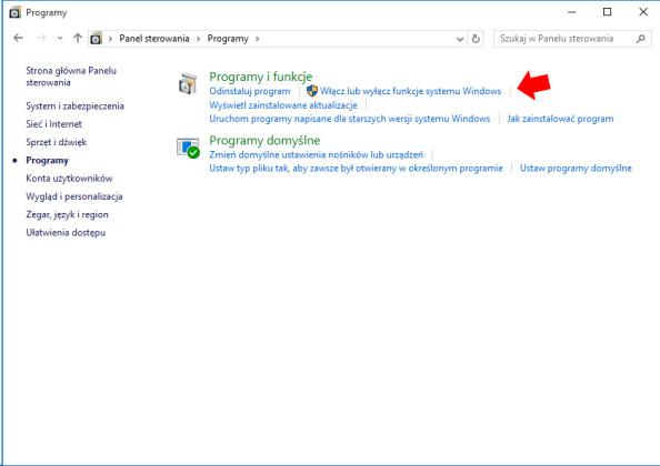 Wywołanie zakładki włączania lub wyłączania funkcji systemu Windows.