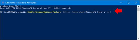 Instalacja usługi Microsoft Hyper-V zapomocą polecenia PowerShell.