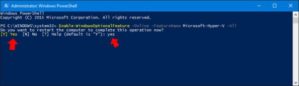 Restart komputera wymagany poinstalacji usługi Microsoft Hyper-V.
