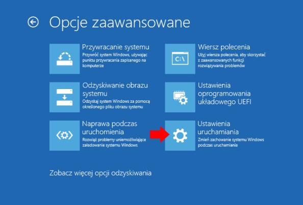 Ustawienia uruchamiania systemu Windows 10.