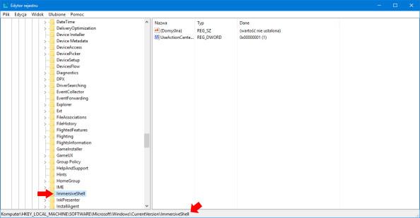 Odnajdujemy klucz HKEY_LOCAL_MACHINE\SOFTWARE\Microsoft\Windows\CurrentVersion\ImmersiveShell