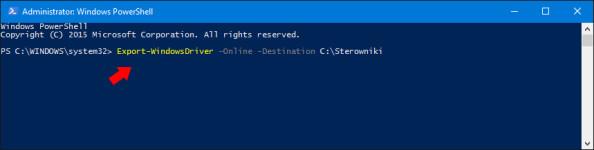 Wywołanie komendy Export-WindowsDriver -Online -Destination C:\Sterowniki