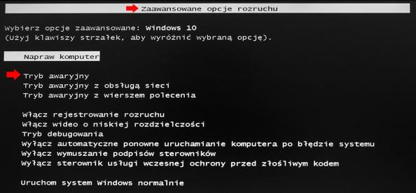 Zaawansowane opcje rozruchu wsystemie Windows 10.