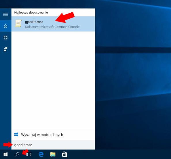 Wywołanie okna edytora lokalnych zasad grup wsystemie Windows 10.