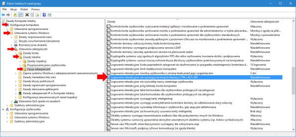 Logowanie interakcyjne: niewymagaj naciśnięcia klawiszy CTRL+ALT+DEL