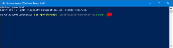 Wyłączenie programu Windows Defender przy użyciu polecenia PowerShell.