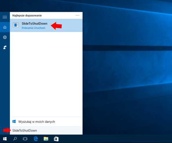 Zamykanie systemu Windows zapomocą polecenie SlideToShutDown.
