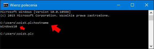 Nowa nazwa komputera sprawdzona poprzez wydanie polecenia hostname.