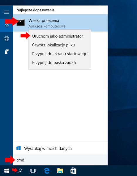 Wywołanie okna wiersza poleceń wsystemie Windows 10.