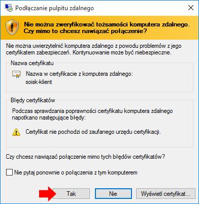 Okno instalacji certyfikatów.
