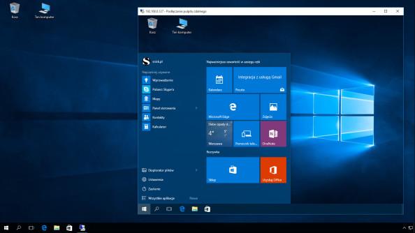 Widok poprawnie wykonanego połączenia pulpitu zdalnego wsystemie Windows 10.