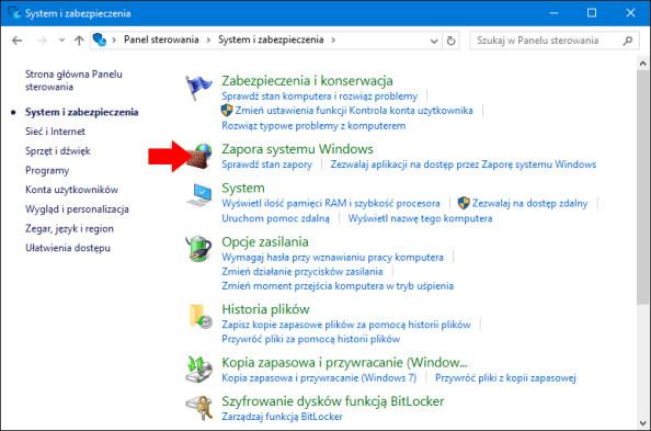 Widok zakładki Zapora systemu Windows