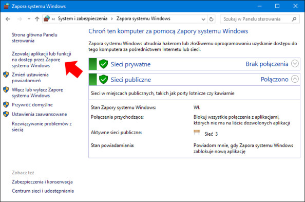 """Widok okna """"Zezwalaj aplikacji lub funkcji nadostęp przezZaporę systemu Windows""""."""