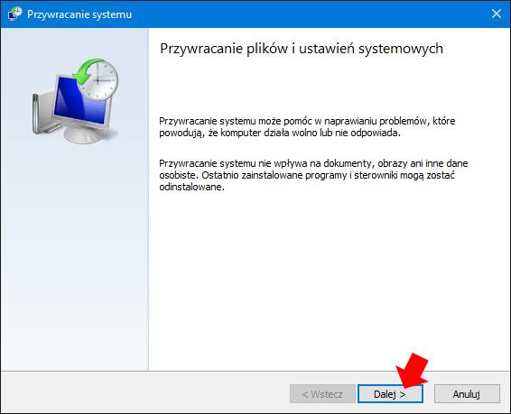 Widok okna odpowiedzialnego zaprzywracanie plików iustawień wsystemie Windows 10.