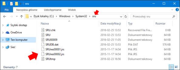 Podgląd zawartości folderu sru znajdującego się wC:\Windows\System32\.