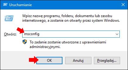 Wywołanie okna Konfiguracji systemu Windows 10 poleceniem msconfig.