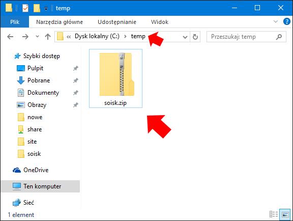 Widok utworzonego pliku zip poleceniem Compress-Archive.
