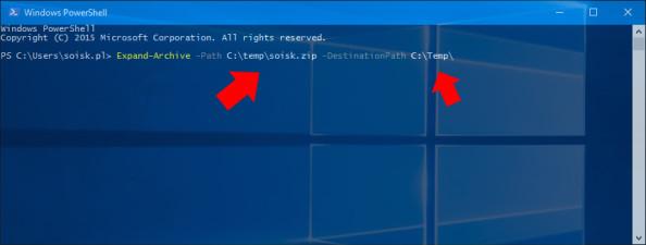 Rozpakowywanie zawartości archiwum wsystemie Windows 10 poleceniem Expands-Archive.