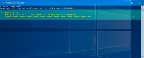 Rozpoczęcie procesu wypakowywania archiwum poleceniem Expand-Archive.