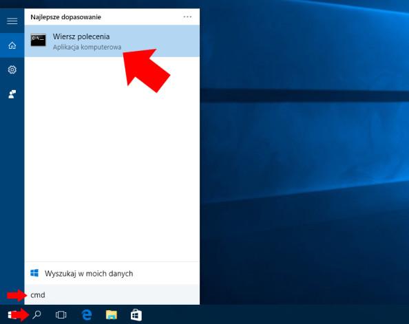 Wywołanie wiersza poleceń (cmd) wsystemie Windows 10.