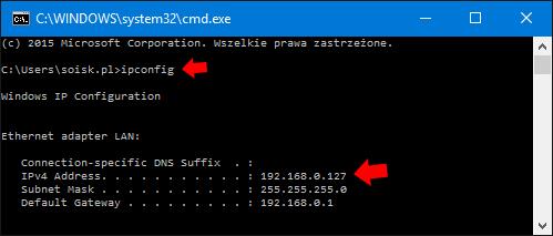 Sprawdzenie poleceniem ipconfig adresu ip komputera.