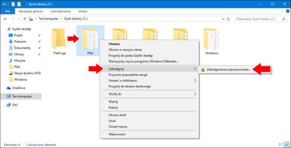 Zaawansowane udostępnianie plików wsystemie Windows 10.