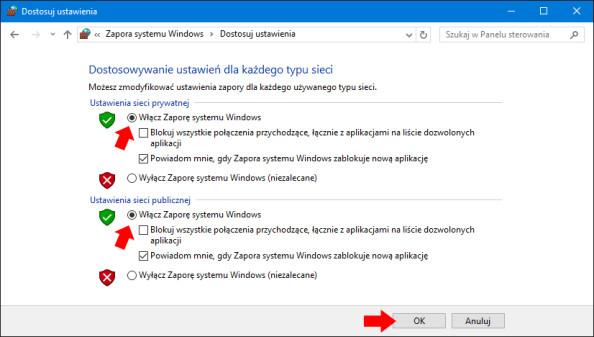 Włączenie zapory systemu Windows 10.