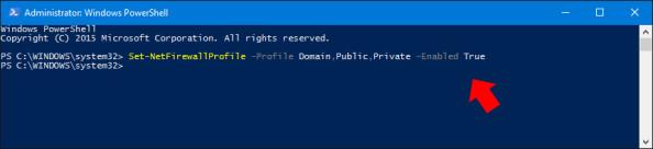 Włączenie Zapory sieciowej systemu Windows 10 poleceniem PowerShell.