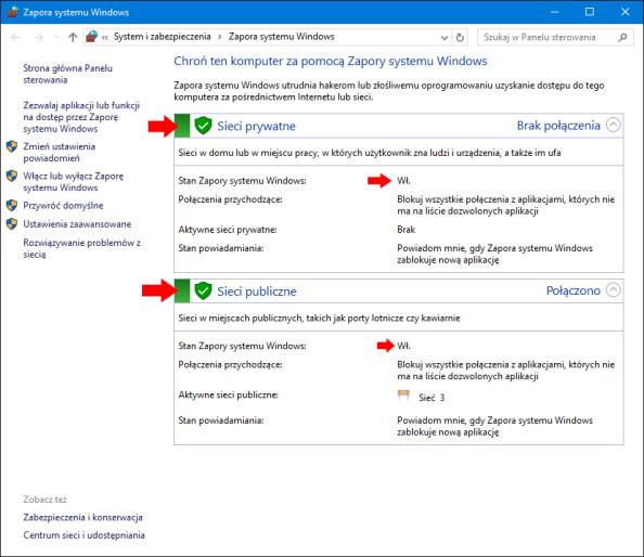 Widok włączonejj Zapory sieciowej systemu Windows 10 poleceniem PowerShell.