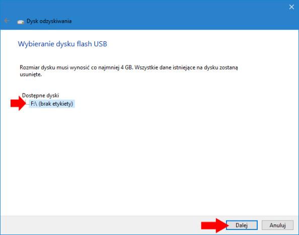 Wybór dysku flash, naktórymzostanie utworzony dysk odzyskiwania systemu Windows 10.