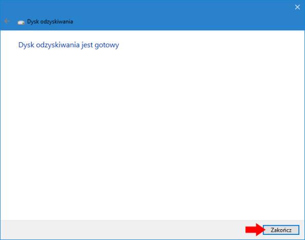 Zakończenie procesu tworzenia dysku odzyskiwania systemu Windows 10.
