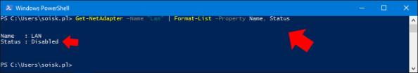 Wyświetlenie statusu karty sieciowej zainstalowanej wsystemie Windows 10.