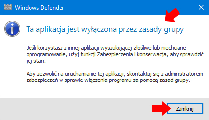 Wyłączony Windows Defender przy pomocy GPO.