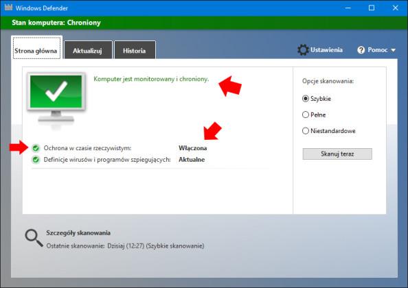 Włączenie usługi Windows Defender przy zastosowaniu Lokalnych Zasad Grup.