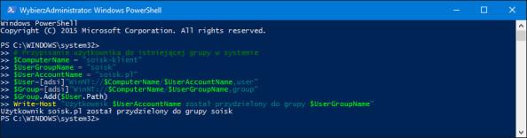 Przydzielenie użytkownika doistniejącej grupy lokalnej wsystemie.