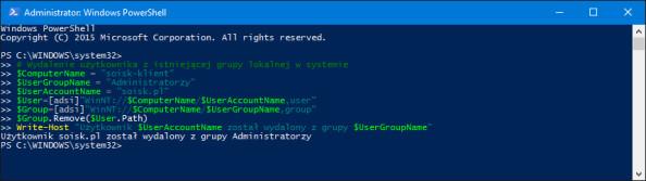Odebranie użytkownikowi uprawnień Administratora systemu.