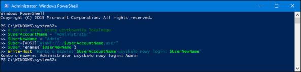 Zmiana nazwy wbudowanego konta Administratora wsystemie Windows 10.
