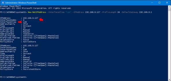 Przypisanie adresu ip dokarty sieciowej poleceniem PowerShell.