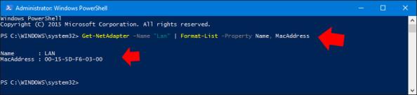 Wyświetlenie adresu MAC karty sieciowej zainstalowanej wsystemie Windows 10.